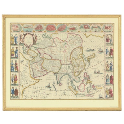 """Hand-Colored Collotype After Willem Blaeu """"Asia Noviter Delineata"""""""