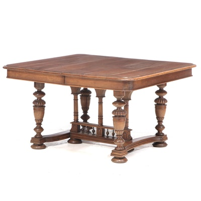 French Late Victorian Oak Dining Table