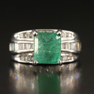 14K 2.89 CT Emerald and 0.98 CTW Diamond Ring with GIA Report