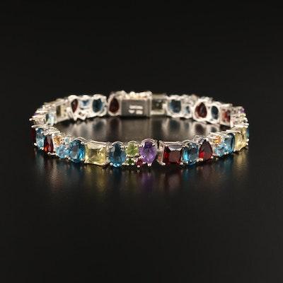 Sterling Silver Topaz, Garnet and Amethyst Link Bracelet