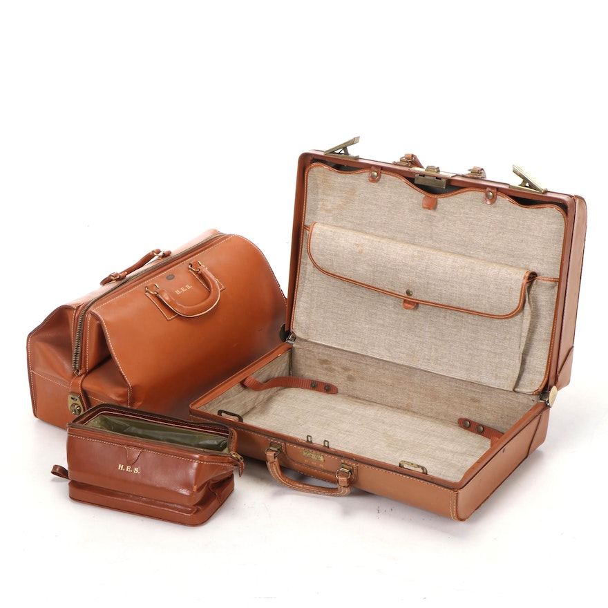 Three Pieces of Cowhide Luggage w/ Monograms, Incl. Zipp-O-Grip and Westminster