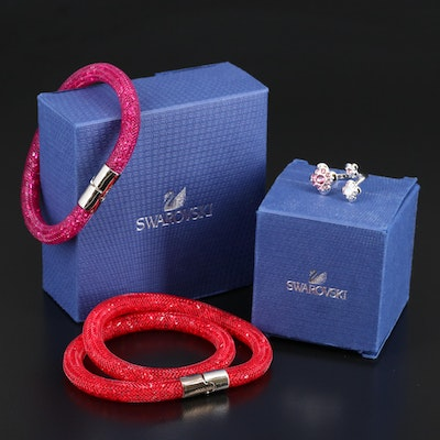 "Swarovski Crystal ""Stardust"" Bracelets and ""Cherie"" Open Top Ring"