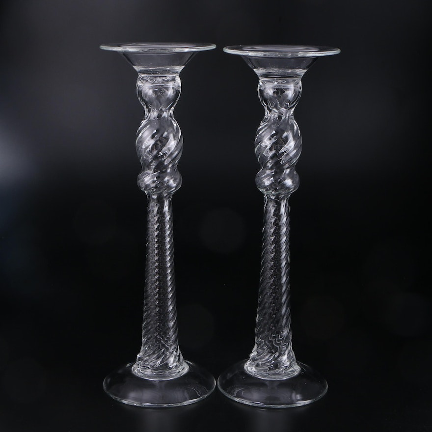 Blown Glass Spiral Column Candle Holders
