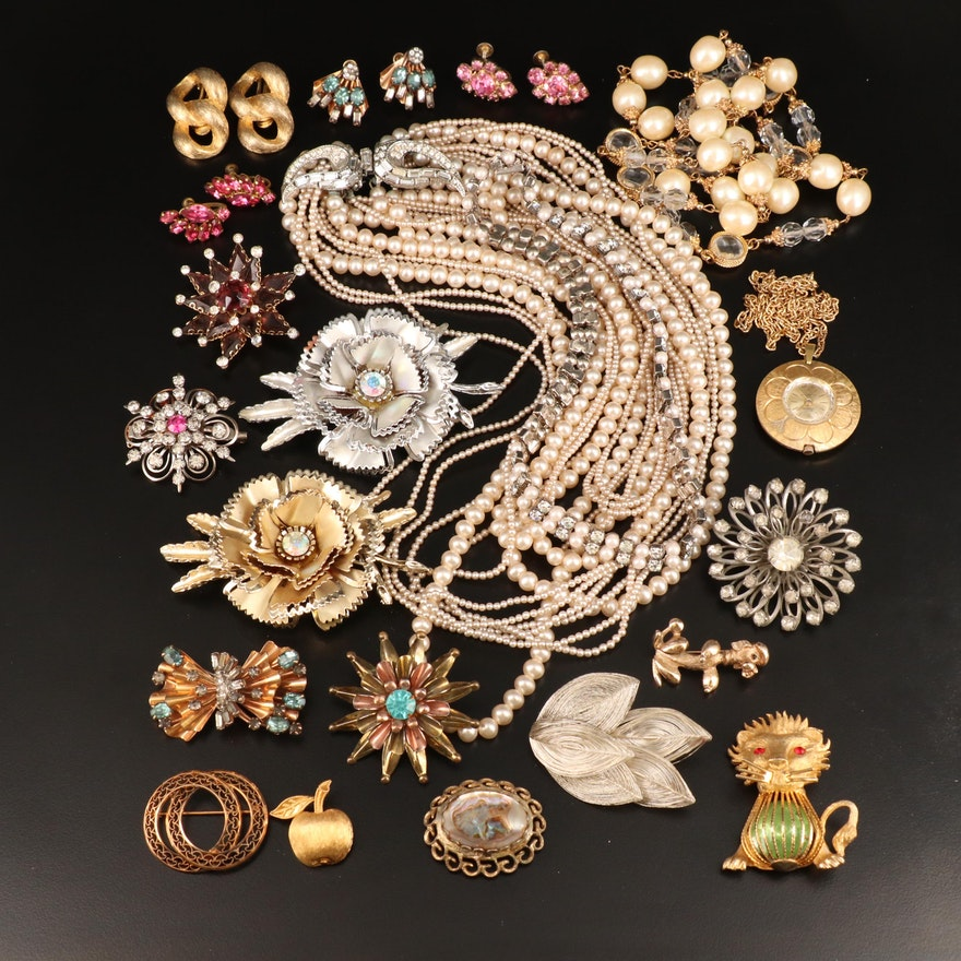 Rhinestone Jewelry Featuring Winard, Les Bernard and a Swiss Watch