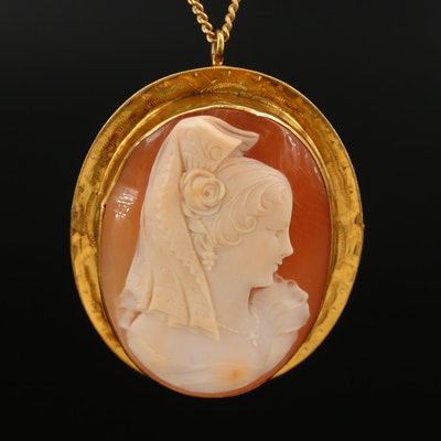 Vintage 10K Shell Spanish Senorita Cameo Converter Brooch on Gold Filled Chain