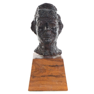 Chaim Gross Portrait Cast Bronze Sculpture, Mid-20th Century