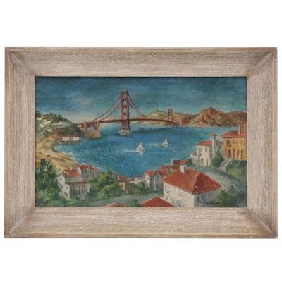 """Frede Vidar Modernist Landscape Oil Painting """"San Francisco Calling,"""" 1950"""
