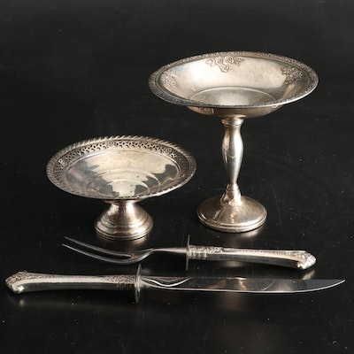 Gorham, Fisher, and Gruen Sterling Silver Compotes and Carving Set