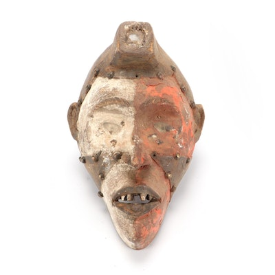 Kongo Style Polychrome Wooden Mask, Central Africa