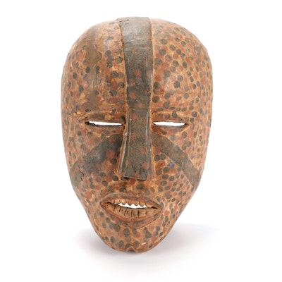 Woyo Style Polychrome Carved Wood Mask, Central Africa