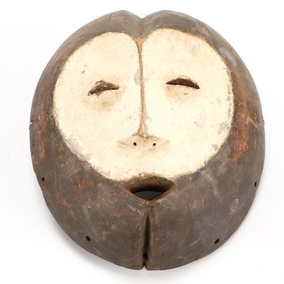 Lega Style Hand-Carved Wooden Mask, Central Africa