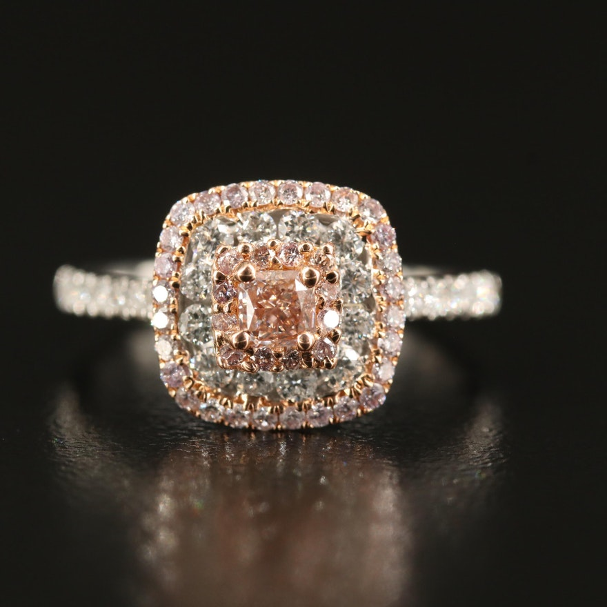 Cirari 18K Two-Tone 1.00 CTW Diamond Triple Halo Ring