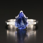 14K Tanzanite and Diamond Teardrop Ring