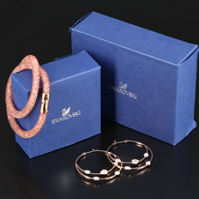 "Swarovski ""Gaze"" Hoop Earrings and ""Stardust"" Bracelet"