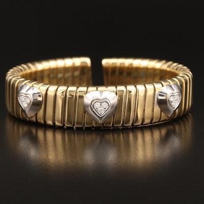 Robert Legnazzi 18K Diamond Three Heart Station Tubogas Flexible Cuff
