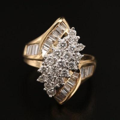 14K 1.50 CTW Diamond Cluster Ring