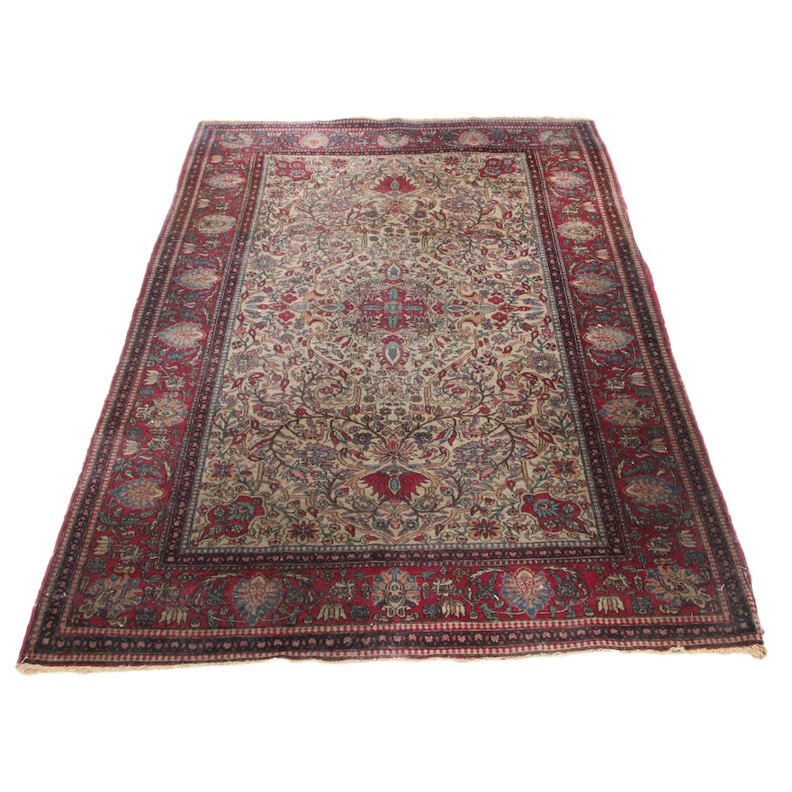 4'6 x 7'1 Hand-Knotted Persian Isfahan Wool Area Rug, Early to Mid-20th Century