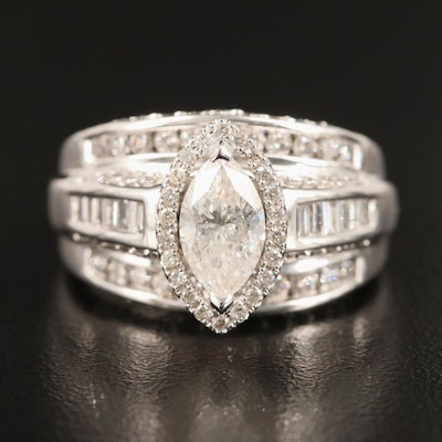 14K 2.50 CTW Diamond Ring Including 1.14 CT Center
