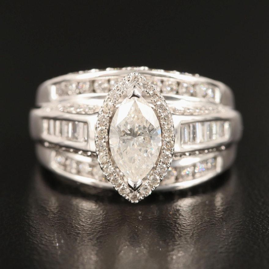 14K 2.50 CTW Diamond Ring Including 1.14 CT Center