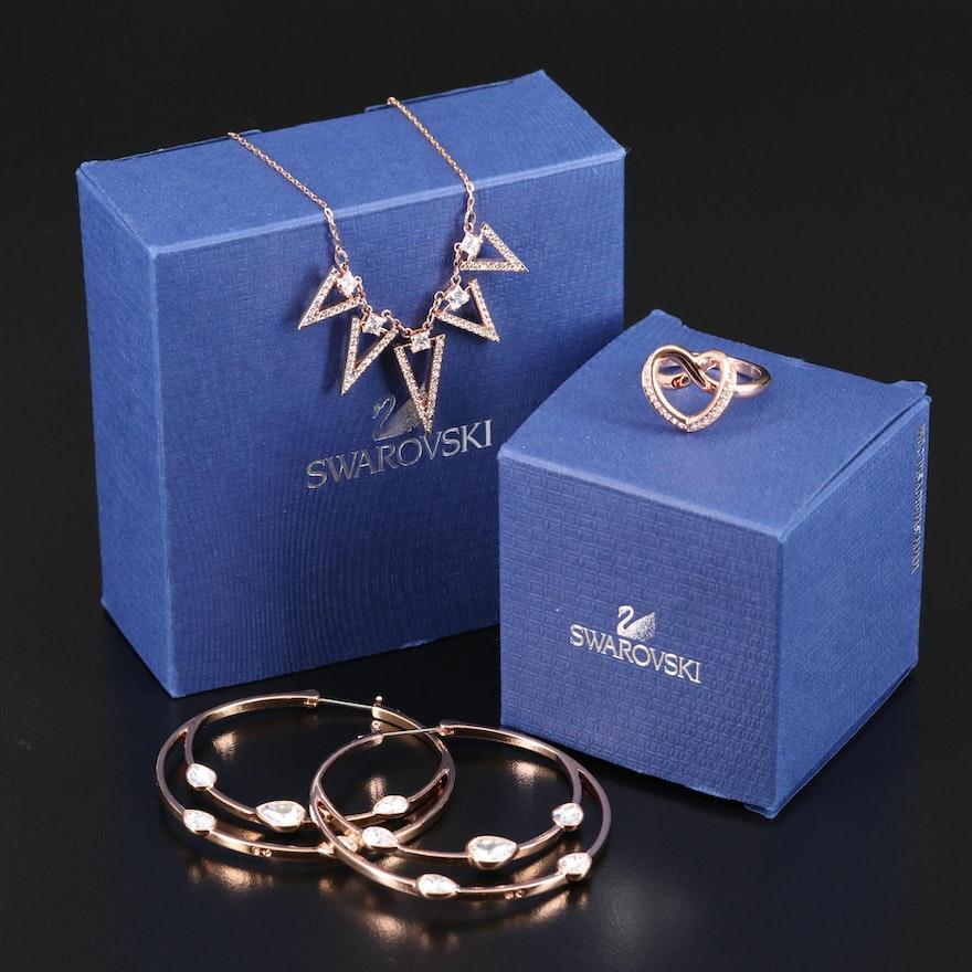 "Swarovski Crystal Featuring ""Gaze"" Hoop Earrings and ""Cupidon"" Ring"