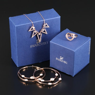 "Swarovski ""Gaze"" Hoop Earrings, ""Funk"" Graduated Necklace and ""Cupidon"" Ring"