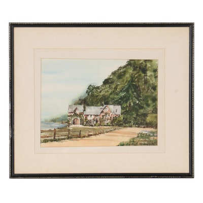 Pauline G. Emmert Coastal Landscape with Cottage Watercolor Painting
