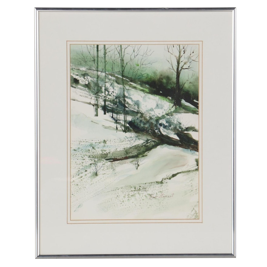 Mary Stewart Winter Landscape Watercolor Painting, Late 20th Century