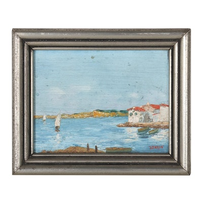 French Coastal Scene Oil Painting, Mid-20th Century