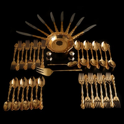 "Oneida ""Modern Baroque"" Gold Tone Flatware and Other Table Accessories"