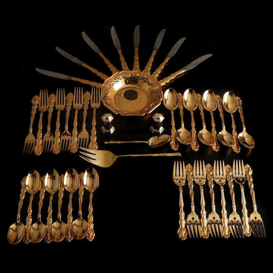 """Oneida """"Modern Baroque"""" Gold Tone Flatware and Other Table Accessories"""