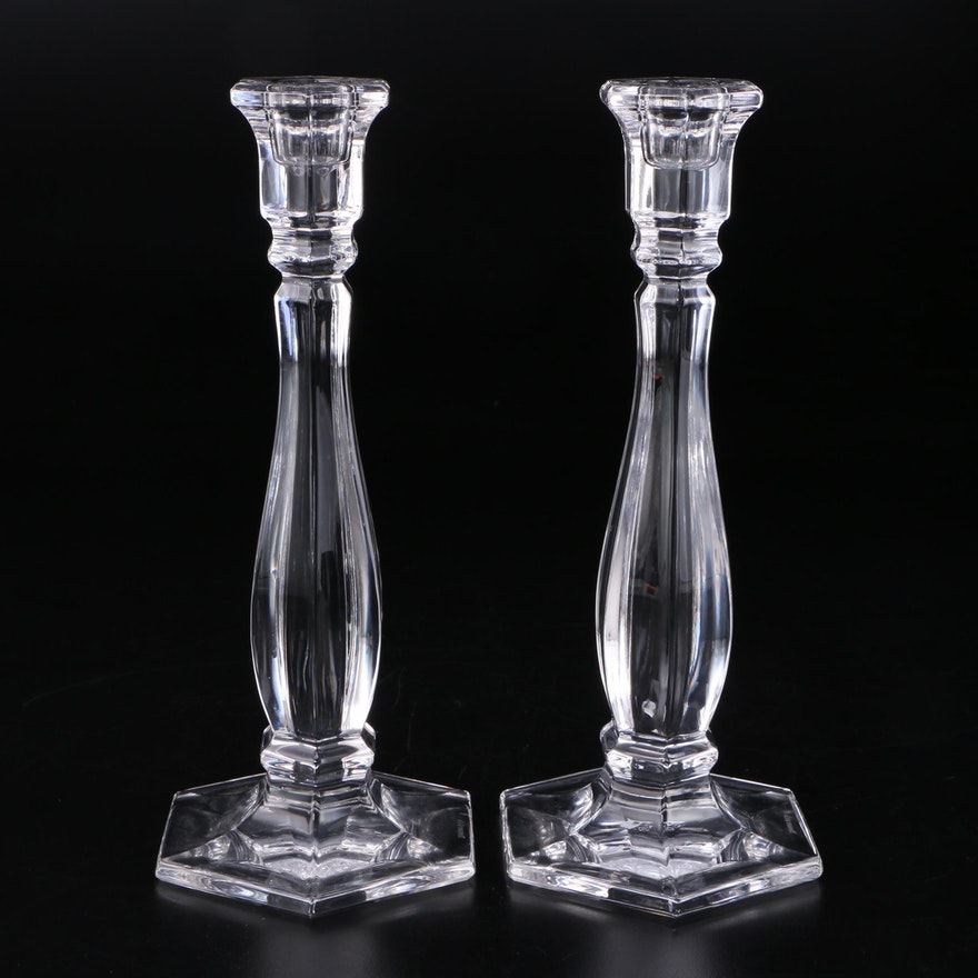 "Pair of Tiffany & Co. Crystal ""Richmond"" Candlesticks"