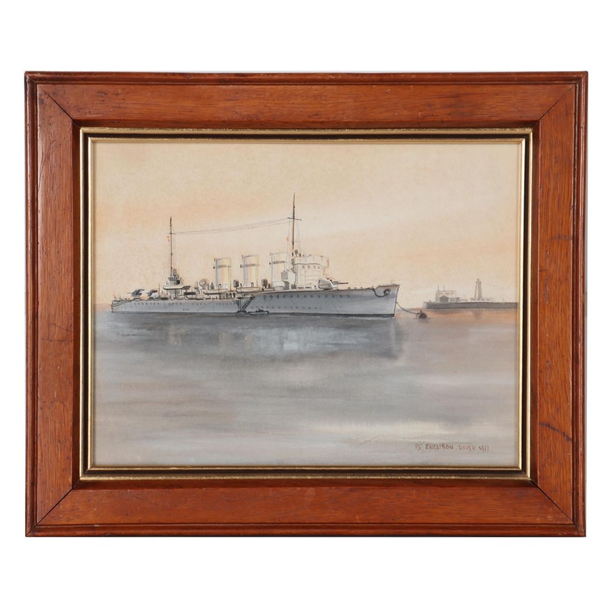 "Petty Officer Engleson Naval Watercolor Painting ""HMS Swift,"" 1917"