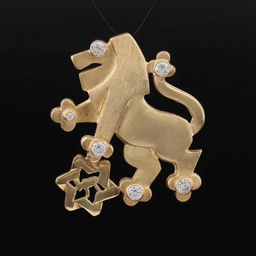14K Diamond and Cubic Zirconia Lion of Judah and Star of David Converter Brooch