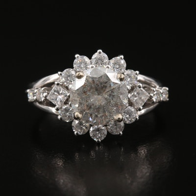 18K 2.83 CTW Diamond Ring with 10K Center Setting