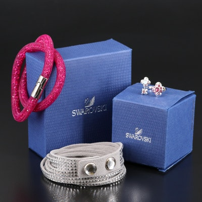 "Swarovski Crystal Jewelry Featuring ""Stardust"" Bracelet and Cherie"" Ring"