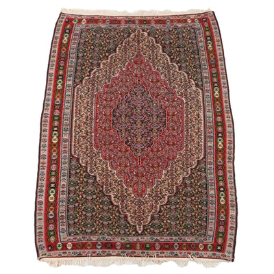 5'9 x 8'1 Handwoven Persian Senneh Kilim Wool Rug, Mid-20th Century