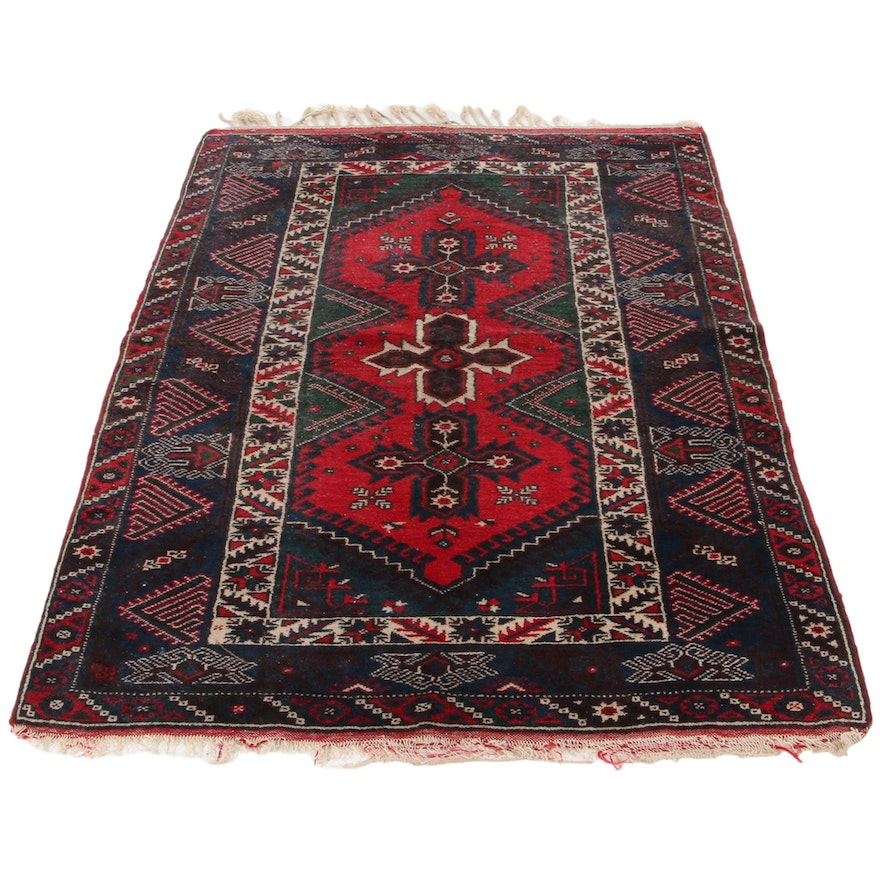 4'1 x 6'7 Hand-Knotted Turkish Bergama Wool Rug