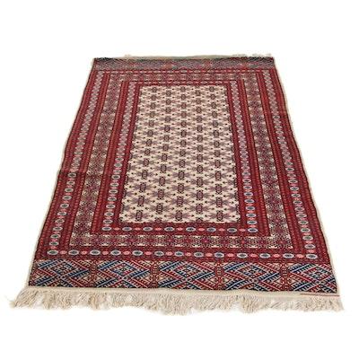4'2 x 7' Hand-Knotted Pakistani Turkmen Wool Area Rug