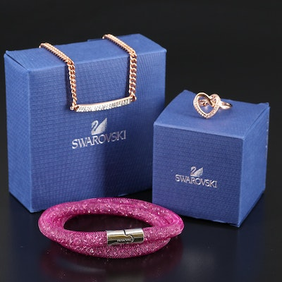"Swarovski Assortment Featuring ""Stardust"" Bracelet and ""Cupidon"" Ring"