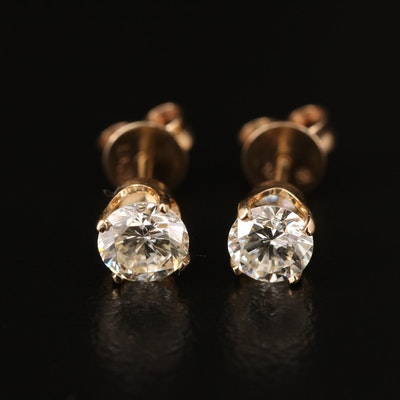 14K 0.87 CTW Diamond Stud Earrings with 10K Clutches