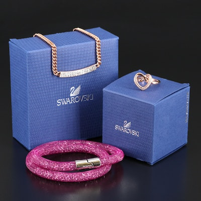 "Swarovski Assortment Featuring ""Cupidon"" Ring and ""Stardust"" Bracelet"