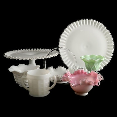 Fenton and Other Jadeite Glass and Milk Glass Serveware, Early to Mid 20th C.
