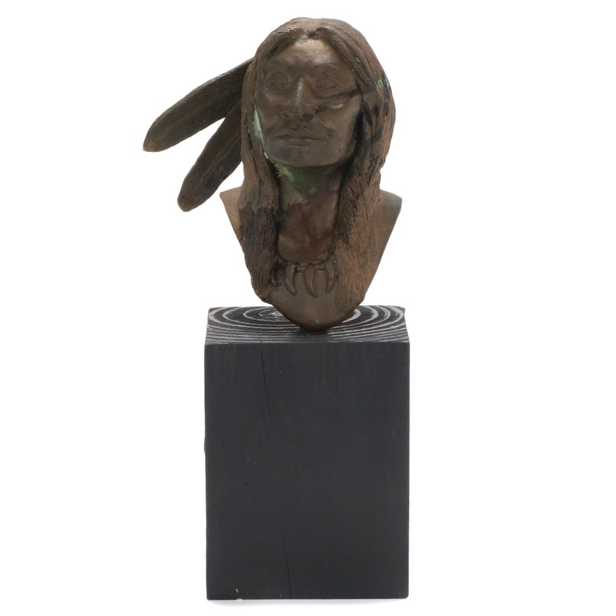 Walty Bronze Native American Bust Sculpture, 1986