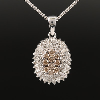 14K 1.00 CTW Diamond Pendant on Sterling Silver Chain