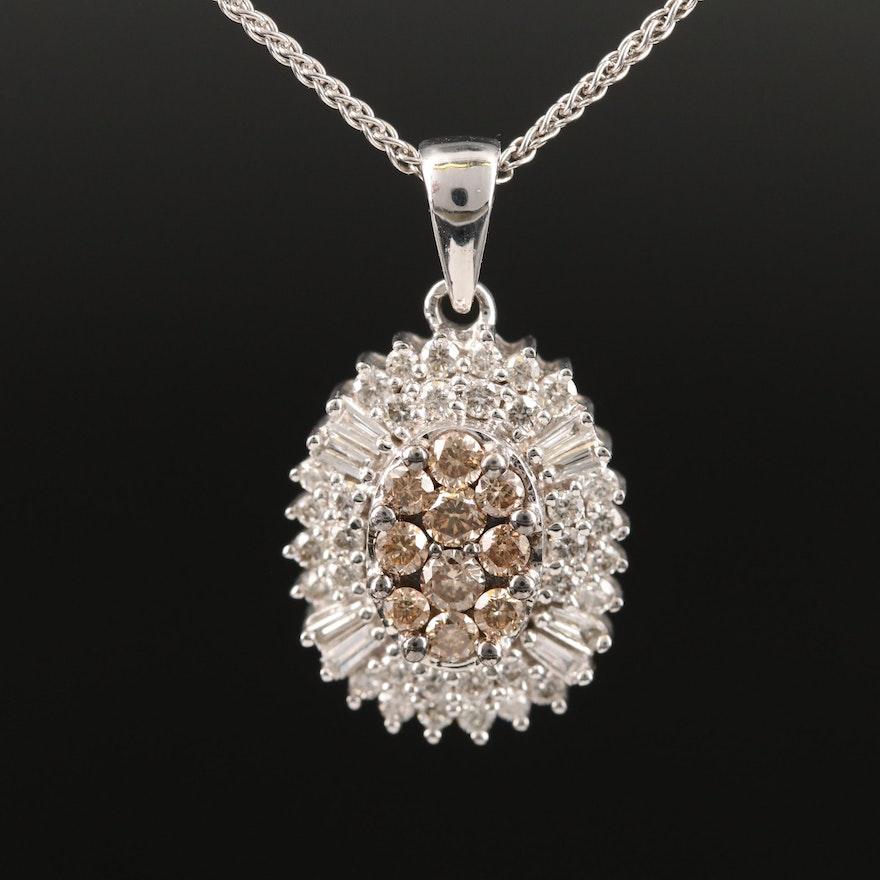 14K 1.00 CTW Diamond Pendant on Sterling Silver Chain
