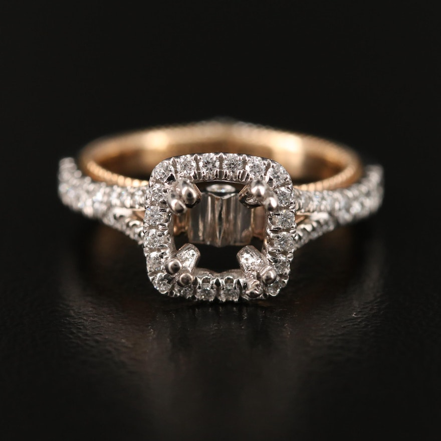 Verragio Two-Tone Diamond Semi-Mount Ring