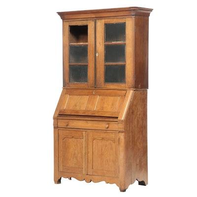 Early Victorian Walnut Secretary Bookcase