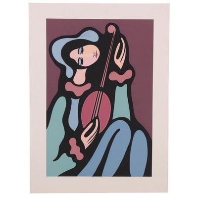 Modernist Style Serigraph of Guitar Player, Late 20th Century