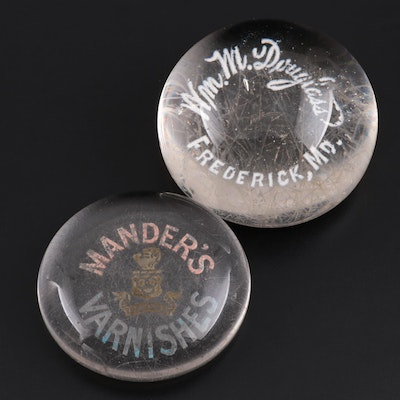 Glass Advertising Paperweights, Mid-20th Century