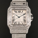 Cartier Santos Galbee XL Stainless Steel and 9.47 CTW Diamond Wristwatch